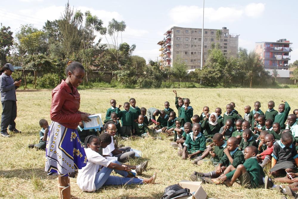 Aklili Dada Staff and Vitabu Team running a reading session at the Kawangware Primary School
