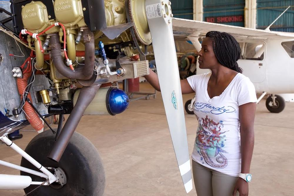 Michelle at a hangar at the Technical University of Kenya. Photo credits Koen Suidgeest