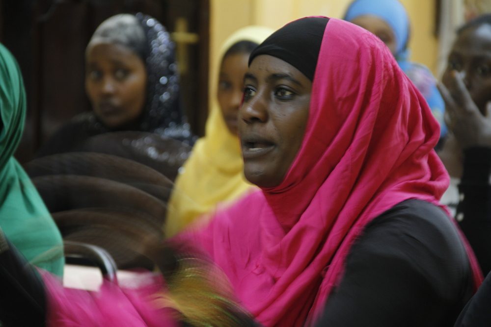Dada Dialogues participant sharing her views on the issues that affect young women in Isiolo County.