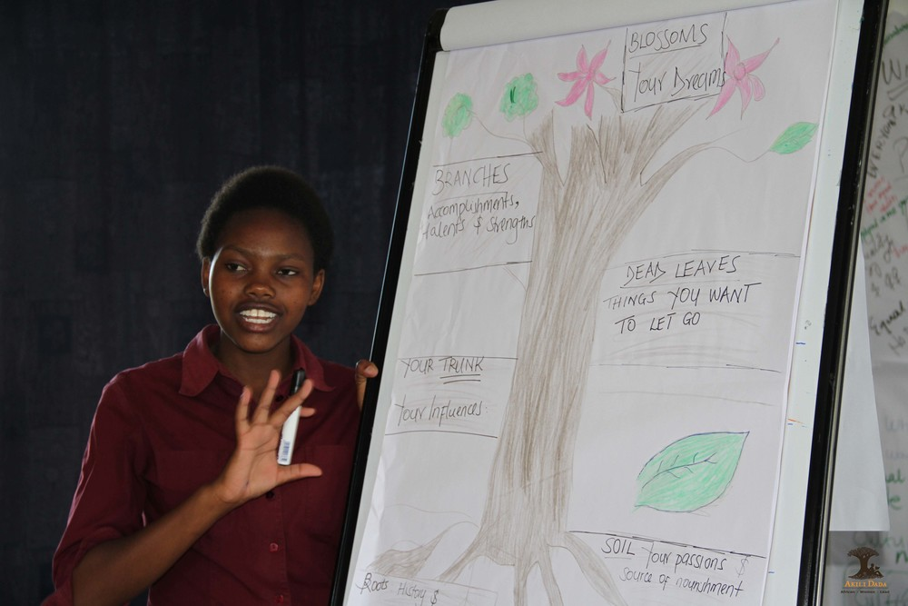 Akili Dada Alumna Leah talking through her leadership journey using the leadership tree.