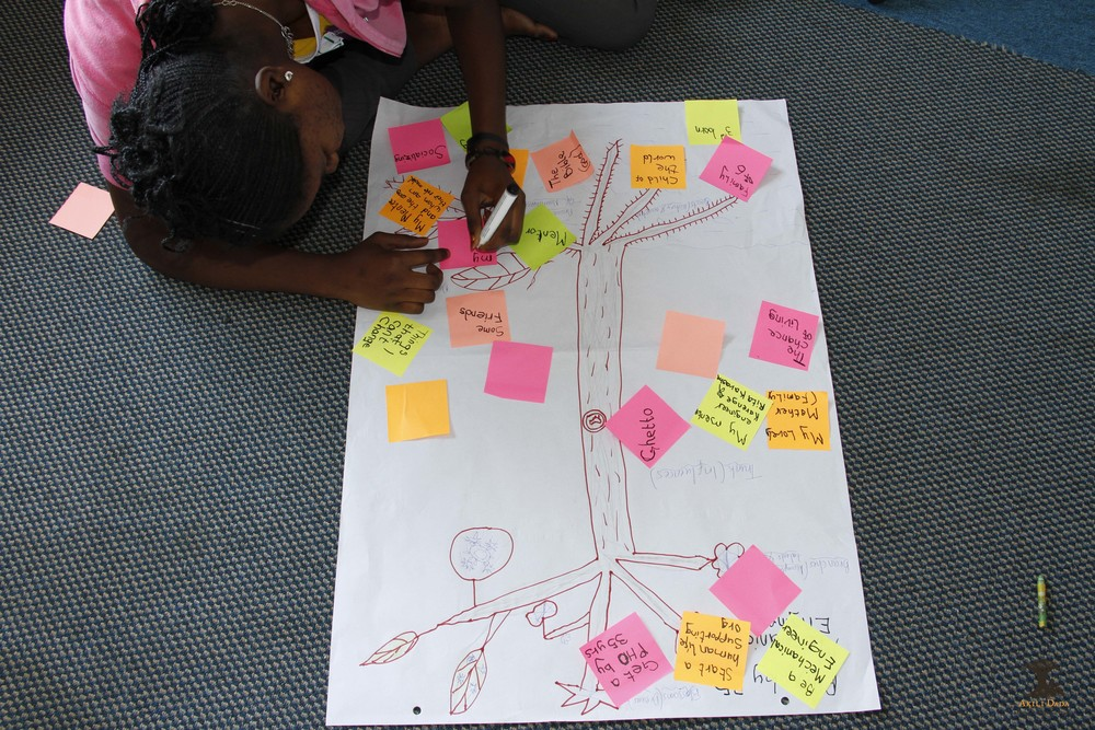 Akili Dada Scholar drawing out her journey using the leadership tree.