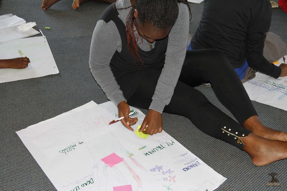 Akili Dada Alumna Faith talking through her leadership journey using the leadership tree.