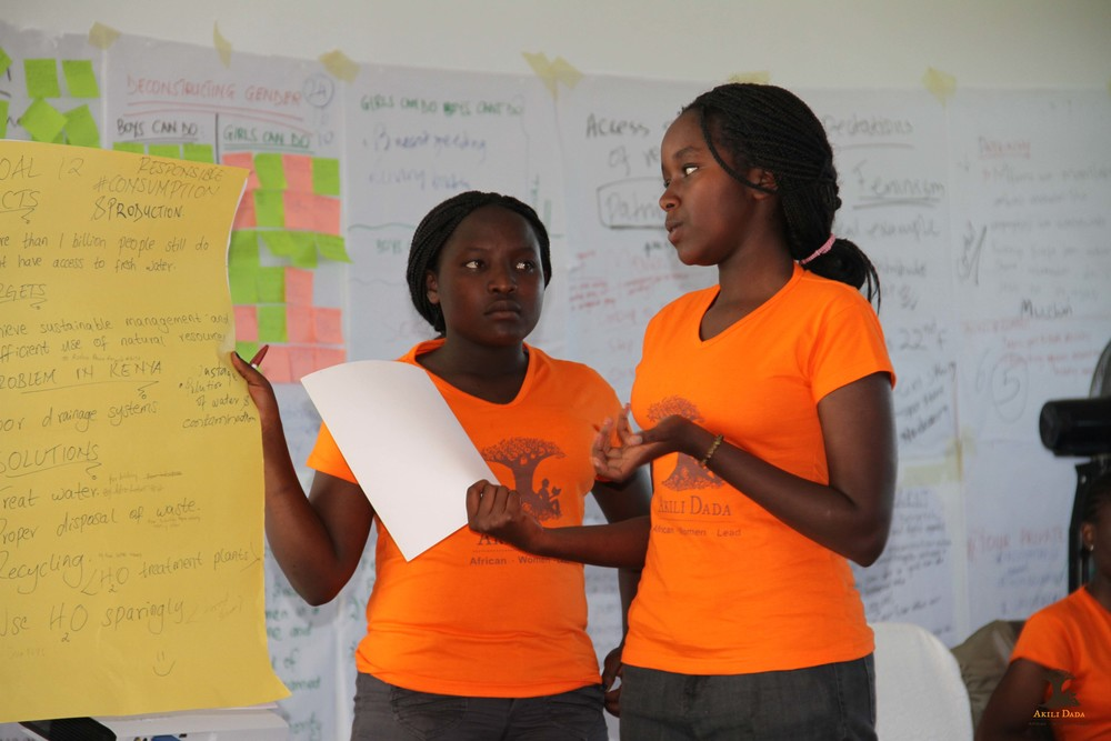 Dadas presenting back their thoughts and views on the role of young women in achieving the newly adopted Sustainable Development Goals.