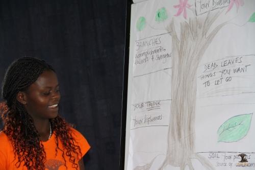 Akili Dada Alumna Gladys talking through her leadership journey using the leadership tree.