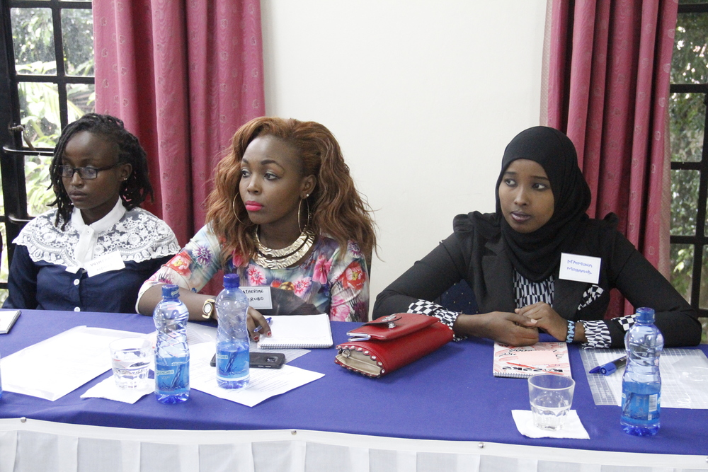 From left: Winfred Wambui Nduati, with fellow Emerging Leaders Catherine Kerubo, Maimuna Mohammed at a just concluded training session.