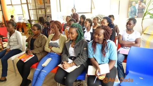 The Gap Year girls keenly listen to Elizabeth Marami