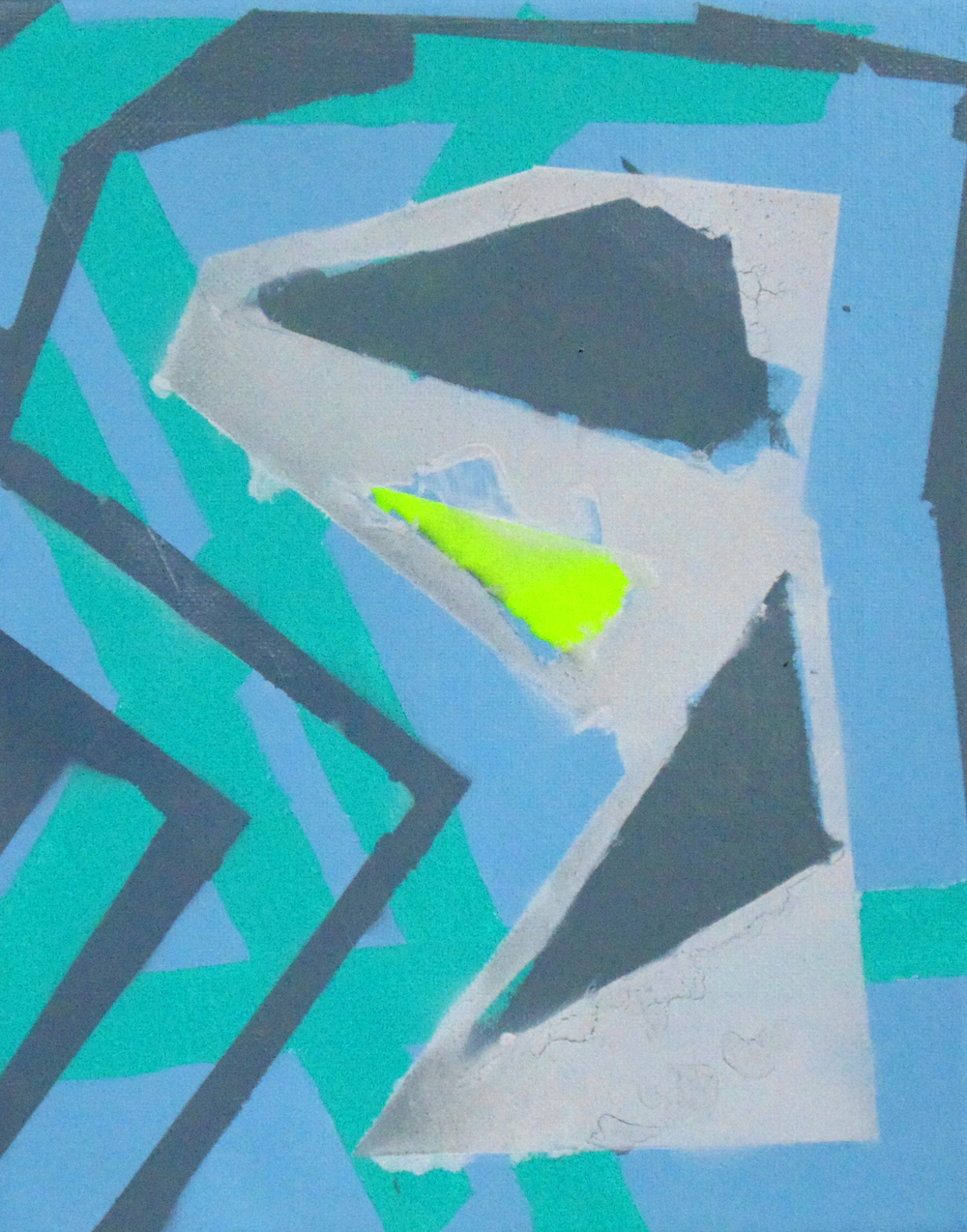 "untitled; 10"" x 8""; spraypaint, acrylic on canvas; 2014"