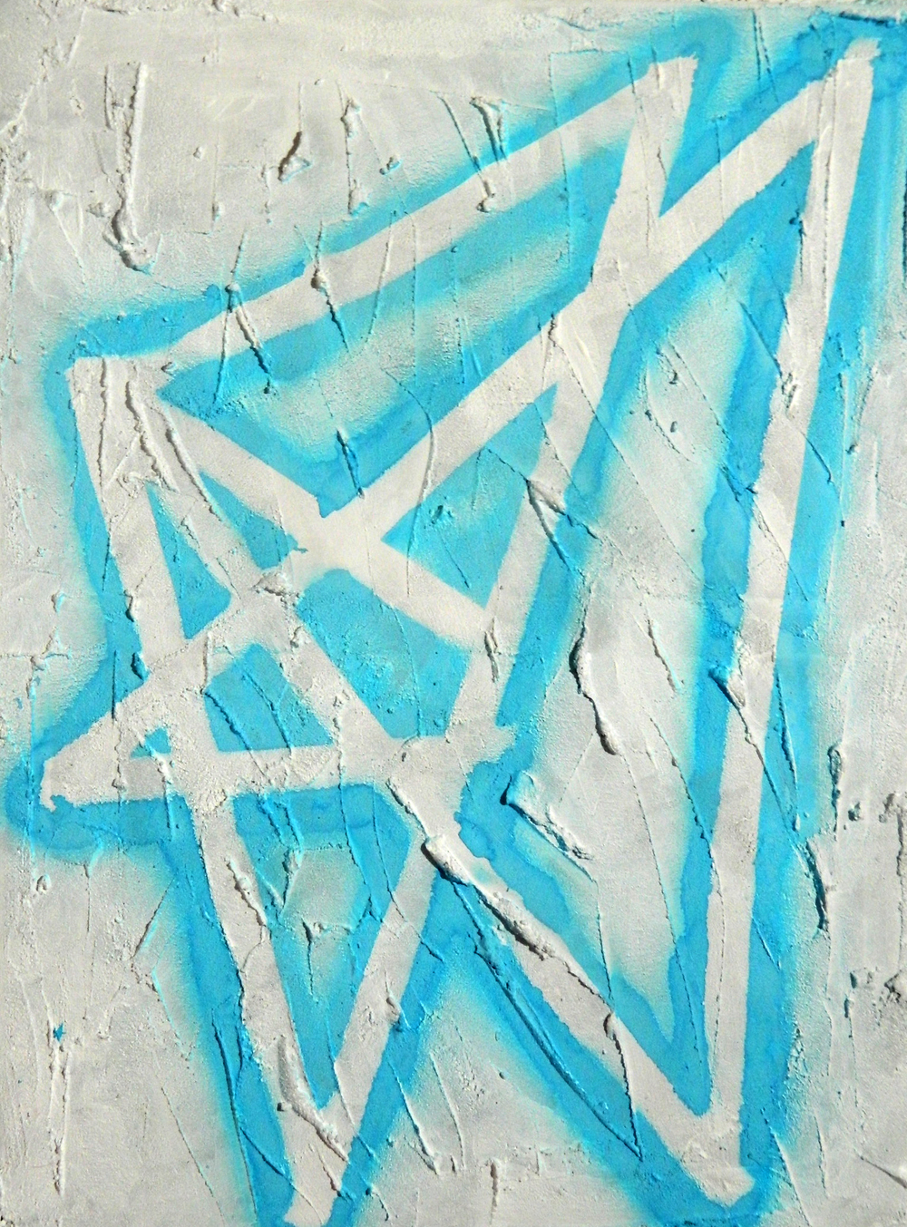 "Untitled; Airbrush on concrete on canvas; 24"" x 18""; 2016"