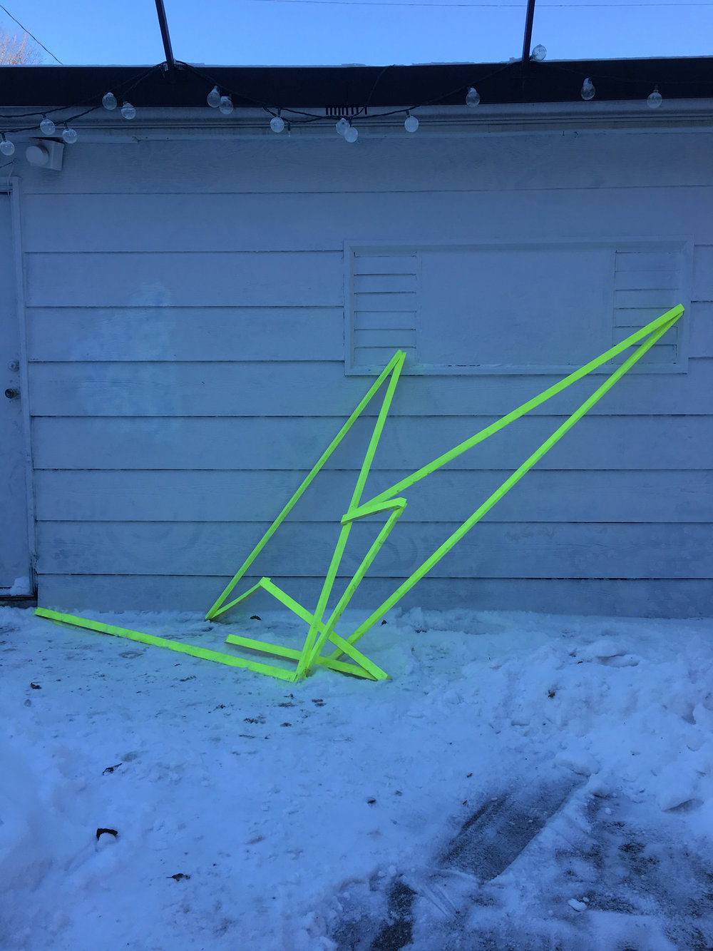 COLD COLOR; site-specific installation at Hermosa Walls, Chicago; January 2017; 12 feet x 12 feet; lumber, spraypaint, screws