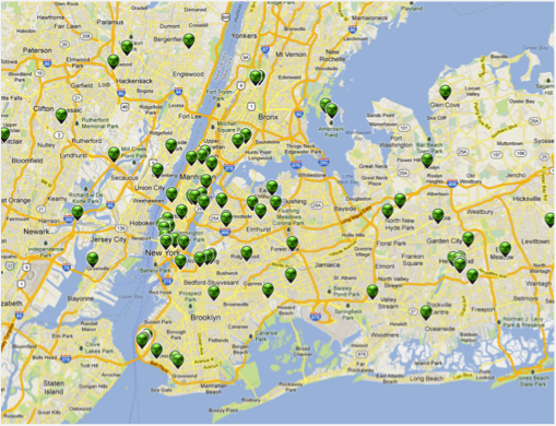 Locations (green points) where low radioactivity readings have been obtained in New York City