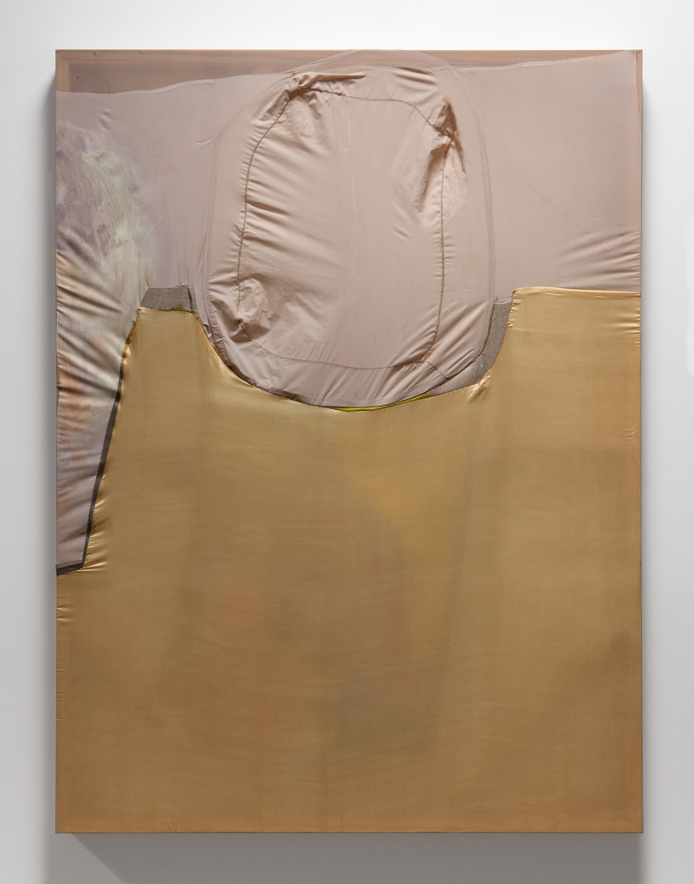 "Erica Mahinay,  Surfacing , 2015, Oil on canvas and treated fabrics, 47""x36"""