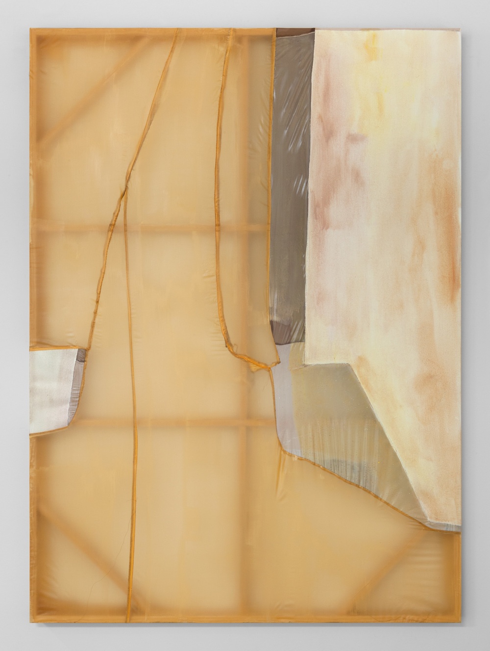 "Erica Mahinay,  Surfacing,  2015, Oil on canvas and treated fabrics, 47""x36"""