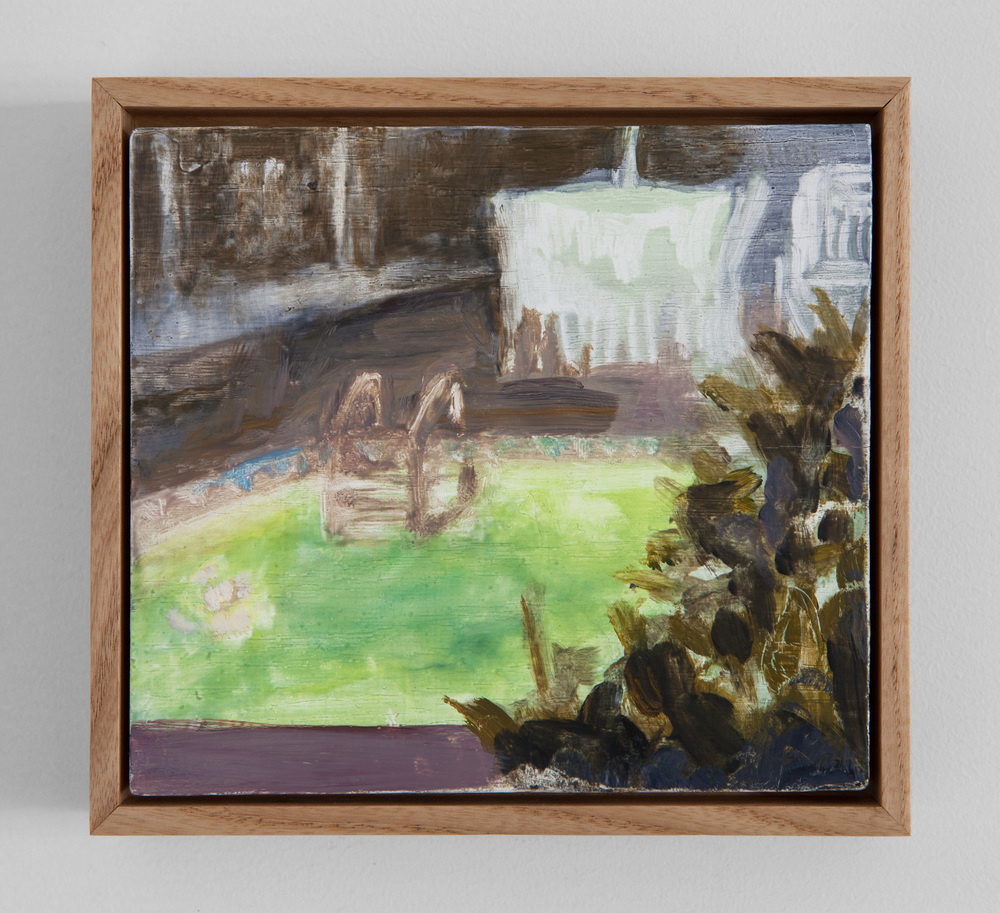 "Erica Mahinay,  Pools (night/July 2012),  Oil on Panel, Ash Frame, 6""x6"""