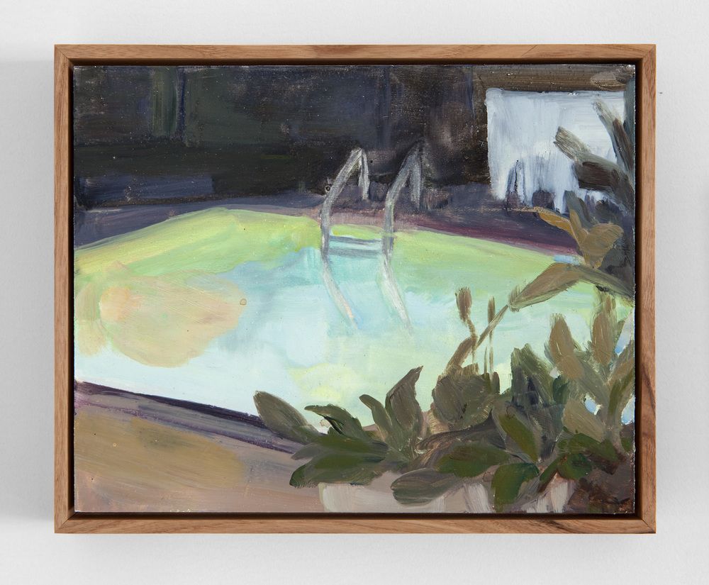 "Erica Mahinay,  Pools, (night/July 2012),  Oil on Panel, Ash Frame, 10""x12"""