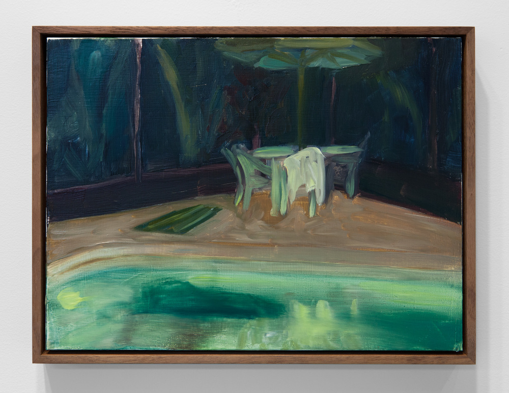 "Erica Mahinay,  Pool  (night/July 2013) Oil on panel, Iroko Frame, 10"" x 12 3/4"""