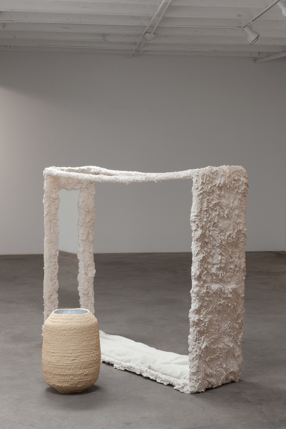 "Kathryn O'Halloran,  Infinite Solitude,  2015, plaster, mirror, towel cushion, stoneware, 69"" x 40"" x 55"""