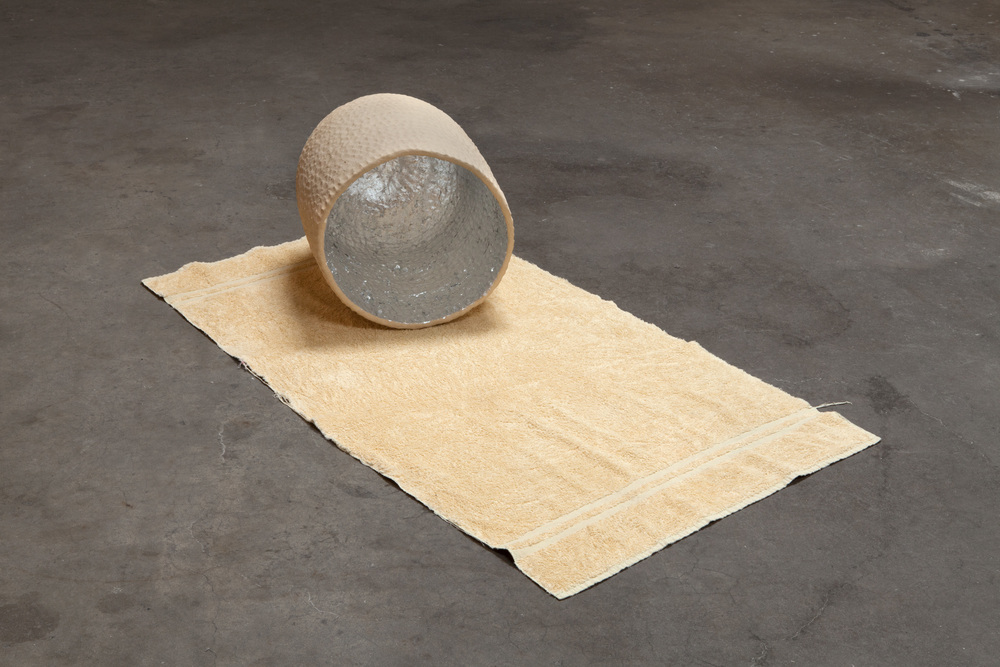 Kathryn O'Halloran,  Self Portrait,  2015, towel, stoneware, aluminum