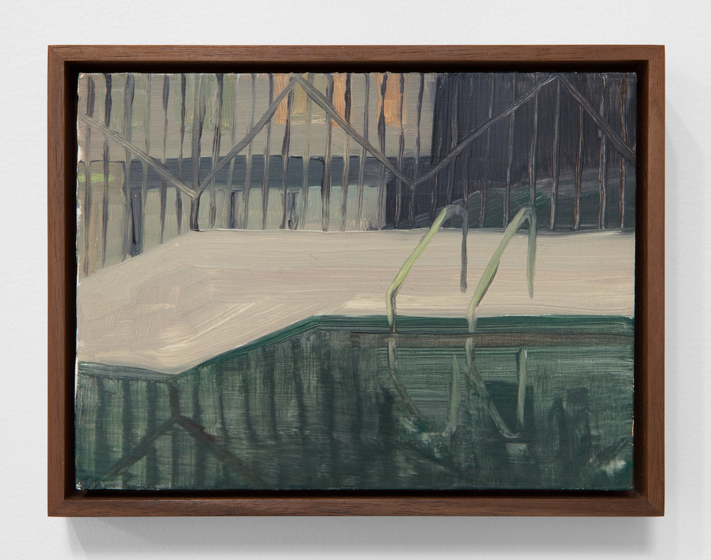 "Erica Mahinay,  Pool,  (iterations #1-24/11am-11am, April 2015, LA, CA), Oil on panel & Ash, Walnut, & Iroko Frames, 24 Panels 6""x8"" each"