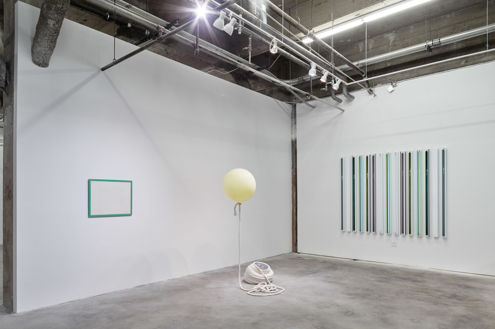 Installation View: Flat Foldability.  From left to right: Guy de Cointet, Kathryn O'Halloran, Robert Irwin.