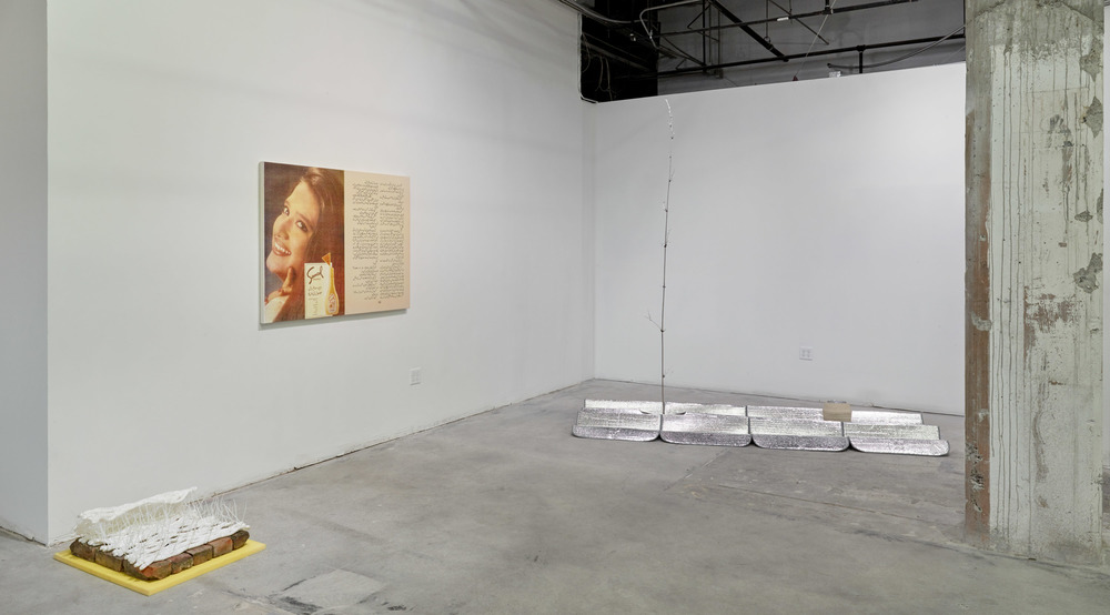 Installation view:   Flat Foldability  . From left to right: Joseph Huppert, Amna Asghar, Kathryn O'Halloran.