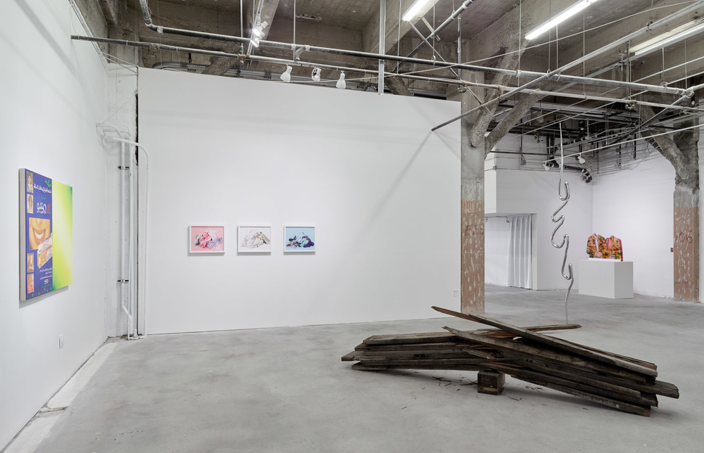 Installation view:   Flat Foldability  . From left to right: Amna Asghar, Chanel von Habsburg-Lothringen, Thomas Demello, Rives Granade, Anna Elise Johnson.