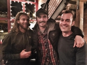 "Timothy, Ryan and Morgan ""recovering"" at the Rum Bar after the 2016 Hardrock Hundred Silverton, CO"