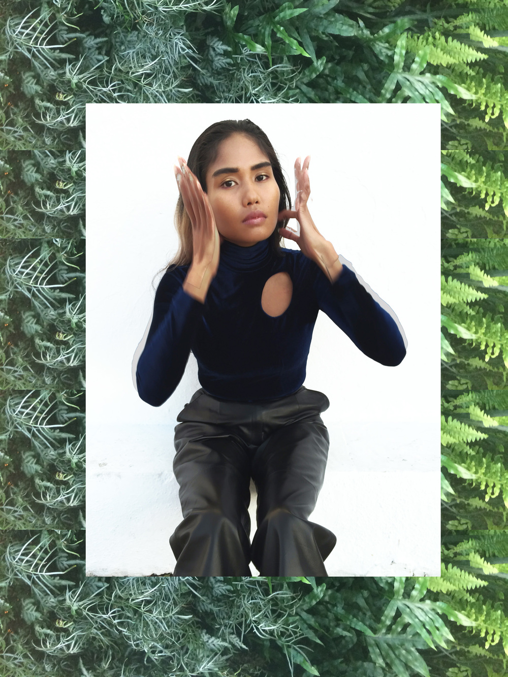 htcaf blue velvet turtleneck handmade by anjia jalac los angeles
