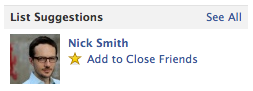 "Facebook just won't let up! I got another prompt today to add my fiance to my ""Close Friends"" list."