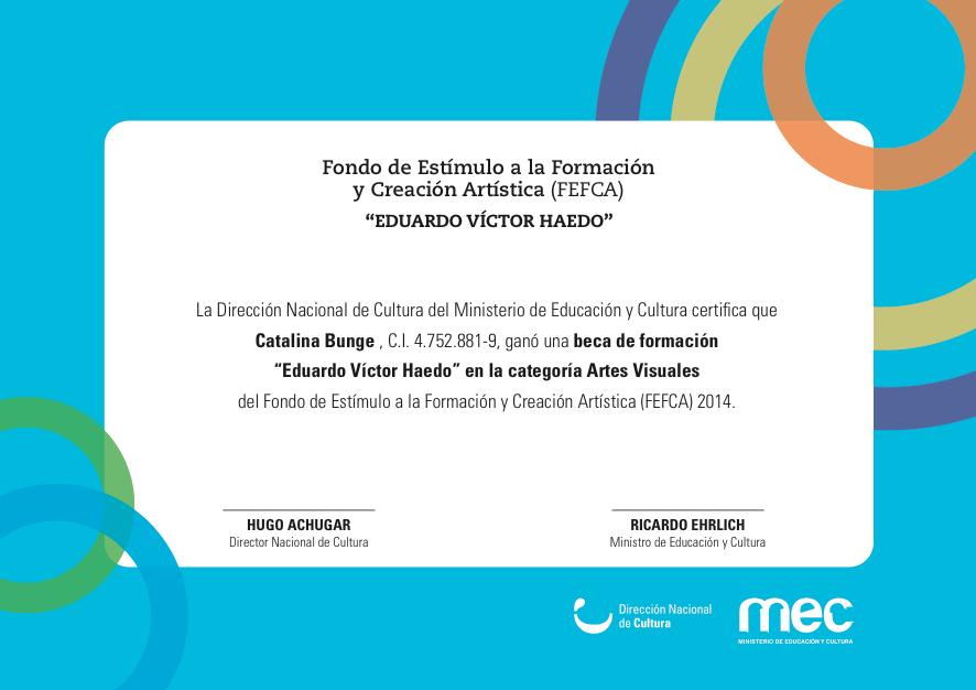 Premiada con la beca FEFA, proporcionada por el Mec (Ministerio de Economía y Cultura, Uruguay).