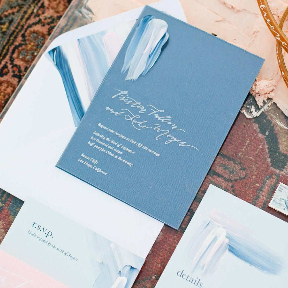 Fully-Custom - The completely customized design option is for couples seeking a completely unique wedding stationery package.  We strongly believe in collaboration and work closely with you to create a one of a kind design made just for you.OUR CUSTOM DESIGN FEE STARTS AT $450 AND REQUIRES A MIN PRINT ORDER OF $1,000