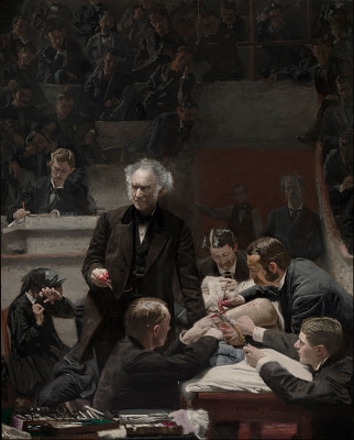 The Gross Clinic, famous oil portrait depicting osteomyelitis surgery from 1875.