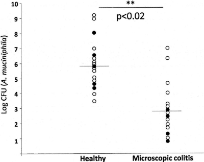 Occurrence of Akkermansia muciniphila in healthy people and those with MC. From:  Fischer et. al. 2015. Altered microbiota in microscopic colitis. Gut doi:10.1136/gutjnl-2014-308956