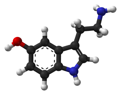 Ball-and-stick model of serotonin molecule