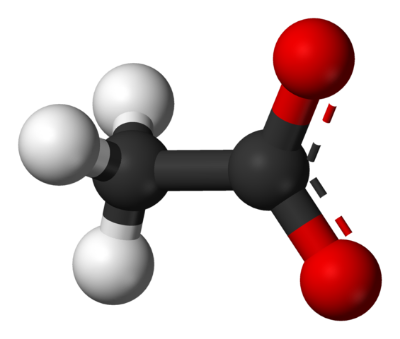 Ball and stick representation of an acetate molecule, CH3COO-