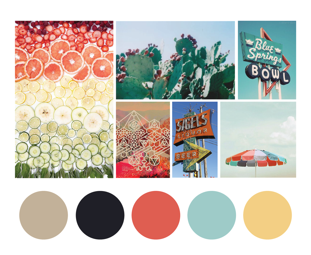 As part of the research phase of the rebrand, I put together a mood board to help inform the personality of the brand and pick colors based on the images that told the right story about the feel Kat wanted to pull through her brand.