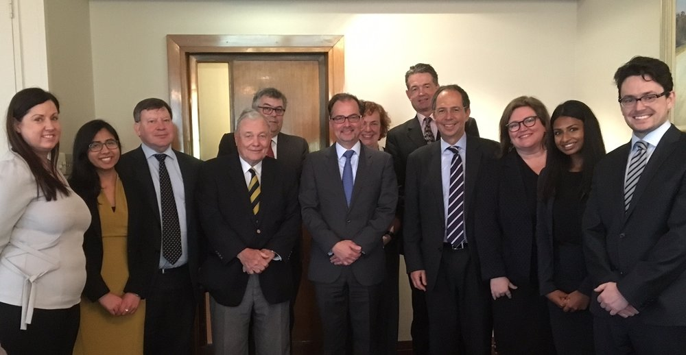 Members of UNCCA with Dr Christophe Bernasconi in Sydney on 29 September 2016. L-R: Diane Chapman, Ashna Taneja, Don Robertson, The Hon. Roger Gyles AO QC, Michael Green SC, Dr Christophe Barnasconi (Secretary-General), Suzanne Howarth, Mark Sheller, Tim Castle (Chair, UNCCA), Dominique Hogan-Doran SC, Prishika Raj and Michael Douglas.