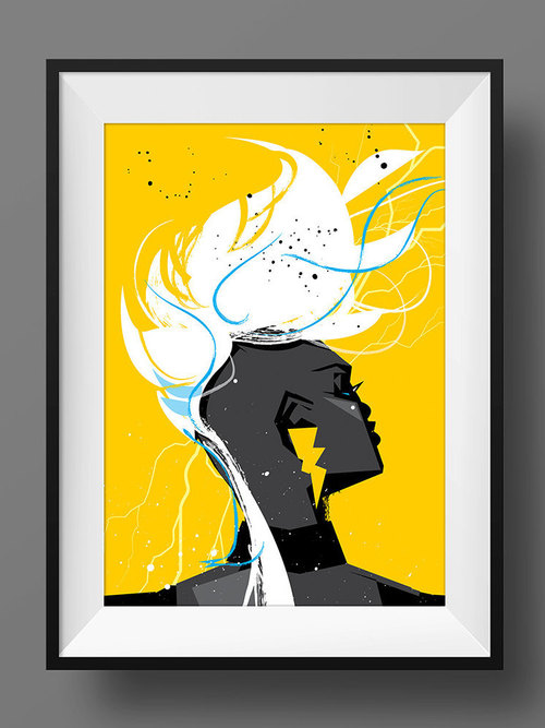 Storm X-Men Black Art Print Poster Hair Marvel Comics Afro Mohawk ...