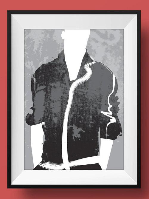 Mens cool graphic shirt art poster hipster fashion illustration print jacket black white model male minimalist edgy vogue menswear retro