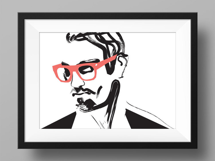 Men fashion illustration art print poster male nerd glasses man pinup gq stylish beard cool vogue edgy sexy black white modern portrait deco