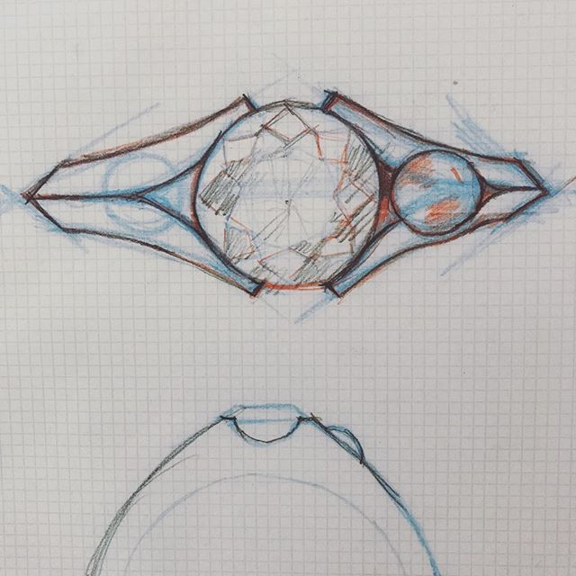 Ok, wondering how far I should to take this one. I know I like how it makes the #knifeedge concept less arbitrary than typical. Thoughts? #sketch #rosecut #diamond #sphere #sidestones