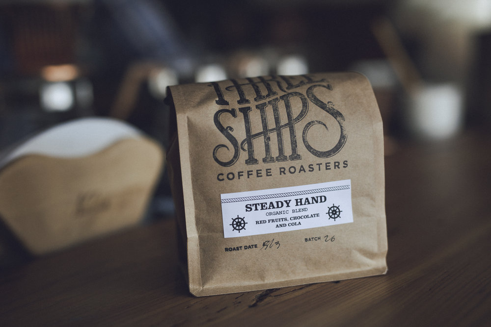 STEADY HAND  Our  Steady Hand  Blend,a certified organic blend of seasonal Central American and South American coffee beans. Our most approachable coffee and a great buy for folks who want consistency in their coffee year round.