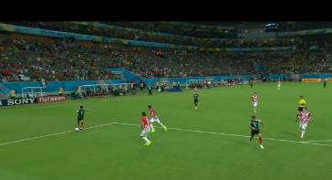 México despliega un ataque en el partido contra Croacia disputado el 23 de junio en la Arena Pernambuco, en Recife por el Grupo A del Mundial Brasil 2014. México se impuso por 3-1 y avanzó a los octavos de final.