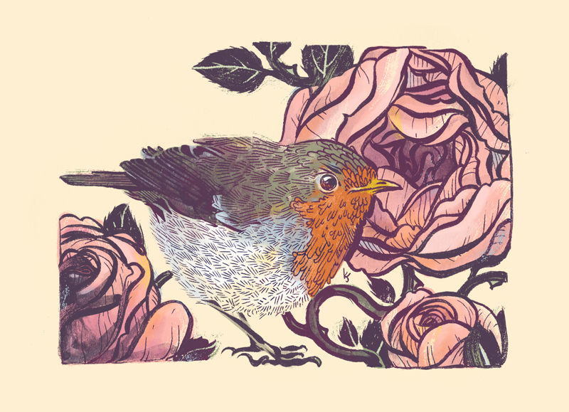 European Robin and English Tea Roses