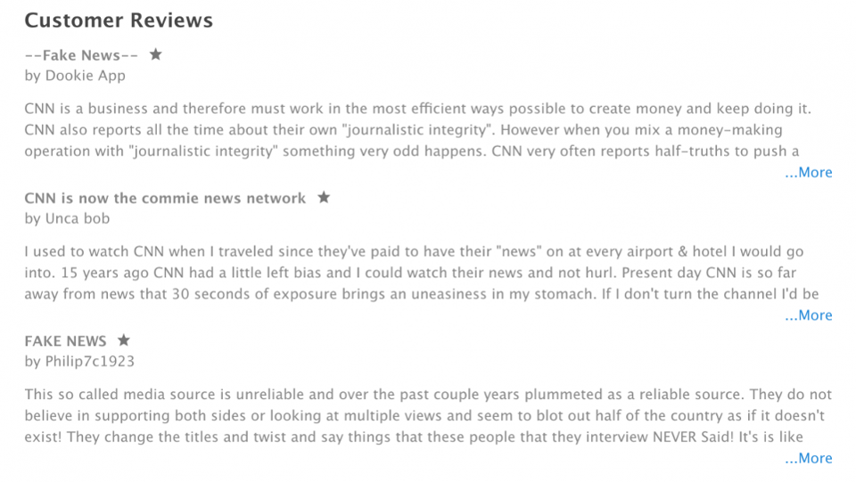 CNN's latest reviews on the Apple App Store.