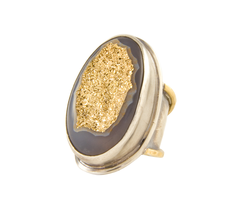 18K Druzy in Silver and 22K Gold Ring
