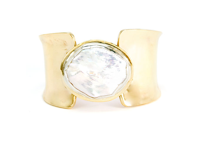Doldrum Cuff with large freshwater coin pearl in bronze, $565