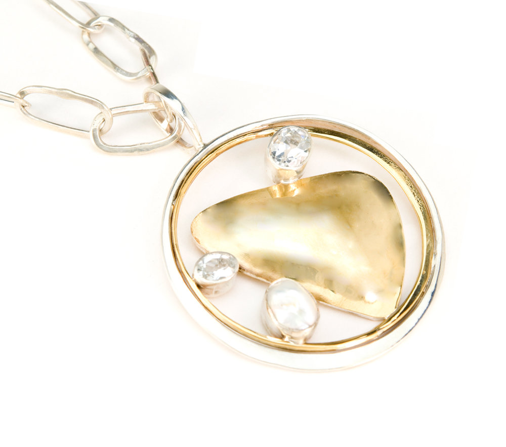 17bc88f2b87e10 leaf coin necklace. Chain Necklace with White Topaz ...