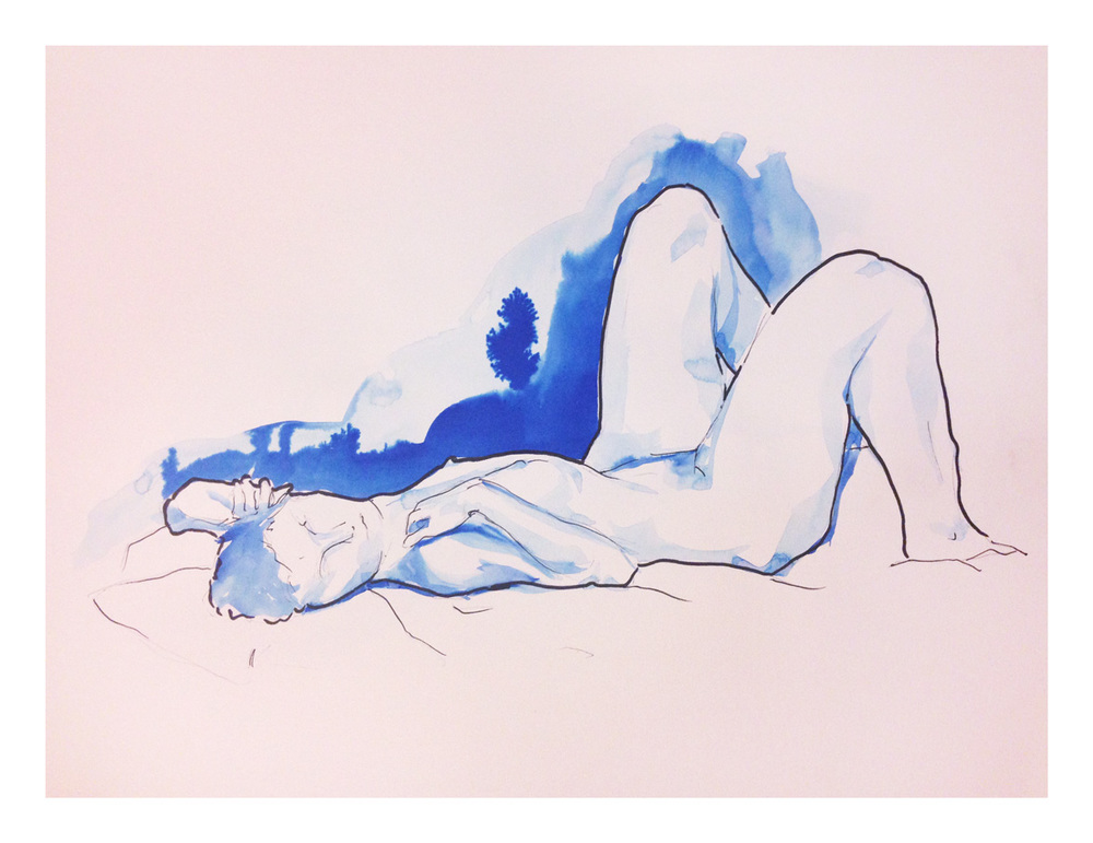 20 minute session 1 | Pencil, Marker, Blue ink wash