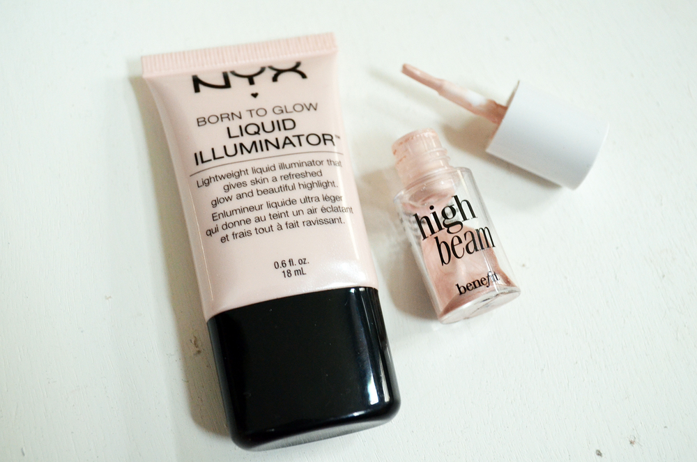 "NYX Born to Glow Liquid Illuminator in ""Sunbeam"" vs. Benefit HighBeam"