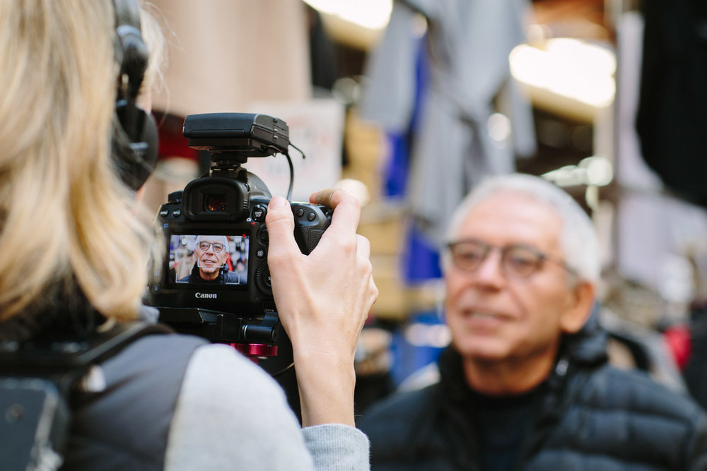 Videographer Chelsea Morley of  Tiny Disco  capturing David Kiper from  Catcher Coats  as he steps us through the wonderful 43-year-old history of his Australian-made coat business. Photograph by  Emma Byrnes.